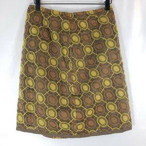 Boden A line Skirt Brown Green Circles Sheer